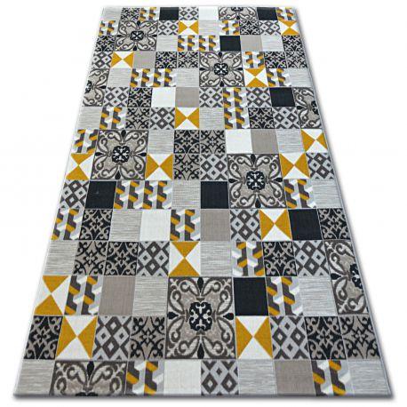 Dywan LISBOA 27218/255 Kwadraty Płytki Żółty Styl Lizboński Portugalski