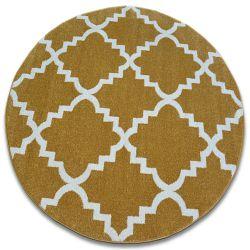 Dywan SKETCH koło - F343 złoto/kremowa koniczyna marokańska trellis