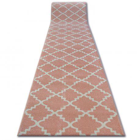 Chodnik SKETCH - F343 różowo/kremowa koniczyna marokańska trellis