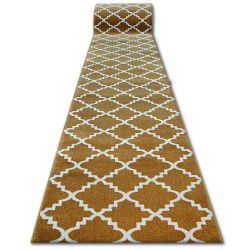Chodnik SKETCH - F343 złoto/kremowa koniczyna marokańska trellis