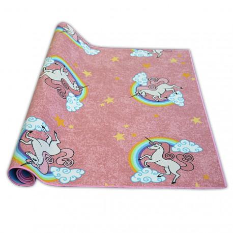 Wykładzina dywanowa dla dzieci UNICORN róż JEDNOROŻEC