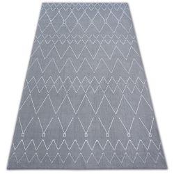 Dywan SENSE Micro 81249 ZYGZAK ETNO srebrny/biały