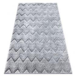 Dywan Strukturalny SIERRA G5010 Płasko tkany, dwa poziomy runa szary - geometryczny, zygzak