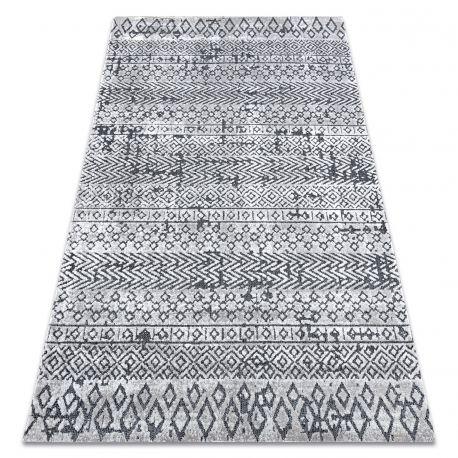 Dywan Strukturalny SIERRA G6042 Płasko tkany, dwa poziomy runa jasny szary - geometryczny, etniczny