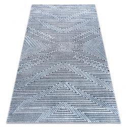 Dywan Strukturalny SIERRA G5013 Płasko tkany, dwa poziomy runa niebieski - zygzak, etniczny
