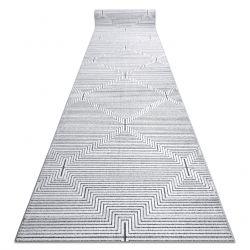 Chodnik Strukturalny SIERRA G5018 Płasko tkany, dwa poziomy runa szary - paski, romby