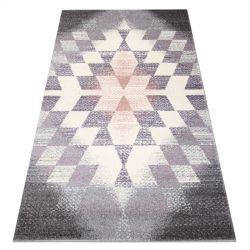 Dywan KAKE 25812757 Geometryczny - Romby, Trójkąty 3D fioletowy / szary / róż