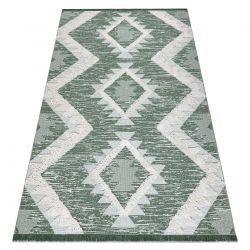Dywan MOROC Romby 22312 Ekologiczny, EKO SIZAL frędzle - dwa poziomy runa zielony / krem, dywan z bawełny recyklingowanej