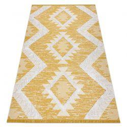 Dywan MOROC Romby 22312 Ekologiczny, EKO SIZAL frędzle - dwa poziomy runa żółty / krem, dywan z bawełny recyklingowanej