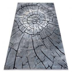 Dywan nowoczesny COZY 8875 Wood, pień - Strukturalny, dwa poziomy runa szary / niebieski