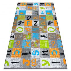Wykładzina dywanowa dla dzieci JUMPY Patchwork, Litery, Cyfry szary / pomarańczowy / niebieski
