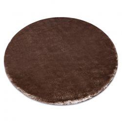 Dywan LAPIN Shaggy koło kość słoniowa / czekolada antypoślizgowy, do prania