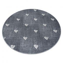 Dywan dla dzieci HEARTS koło Jeans przecierany, serca, serduszka, dziecięcy - szary