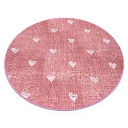 Dywan dla dzieci HEARTS koło Jeans przecierany, serca, serduszka, dziecięcy - różowy
