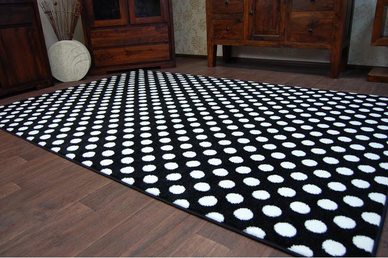 Dywan SKETCH F764 białoczarny Kropki Dywany nowoczesne
