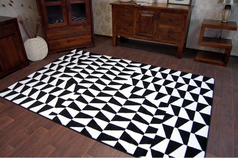 Dywan SKETCH F765 białoczarny Kratka Dywany nowoczesne